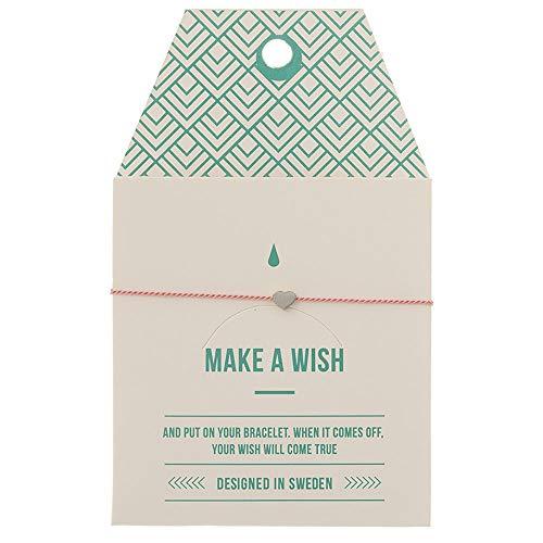 Pulsera TIMI of Sweden Mint tarjeta de deseo pequeña mate corazón plata rosa pulsera de la amistad Make a Wish