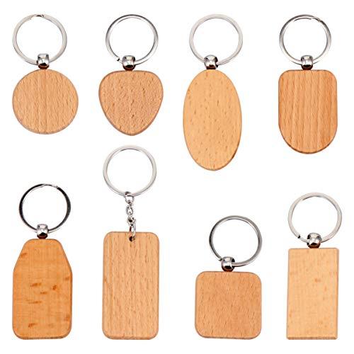 KESYOO 8 Stück Leere Holz Schlüsselanhänger Naturholz Scheiben DIY Unvollendete Holz Zeichen Personalisierte Schlüsselring Schlüsselanhänger für Weihnachten Abschlussgeschenk