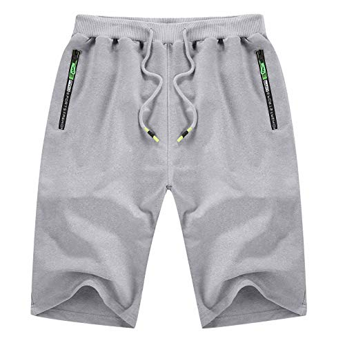 YTD Mens Shorts Casual Sports Joggers Shorts with Elastic Waist Zipper Pockets 3XL Light Gray