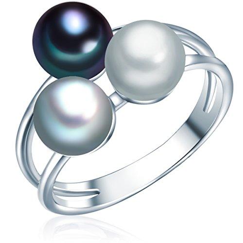 Valero Pearls Damen-Ring Hochwertige Süßwasser-Zuchtperlen in ca. 6 mm Button grau/silbergrau/pfauenblau 925 Sterling Silber - Perlenring mit echten perlen Hellgrau/dunkelblau 60020094
