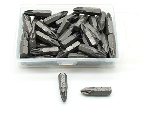 TEMO 50 pc Pozi PZ2 Impact Ready 1 Inch (25 mm) Length Screwdriver Insert Bit Hex Shank with Quick Release Slot