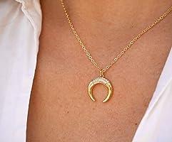 Collier plaqué or - Collier Lune - Lune Dorée - Bijoux Lune - bohème-chic - boho - pendentif Lune doré - Croissant de...