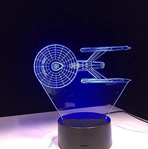 3D ilusión lámpara LED Luces nocturnas Acorazado aeroespacial interestelar decoración del hogar y para codormir Con carga USB, control táctil de cambio de color colorido