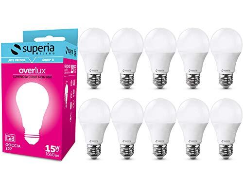 Superia Lampadina LED E27 Goccia, 15W (Equivalenti 85W), Luce Fredda 6000K, 1660 lumen, OP15F, Pacco da 10
