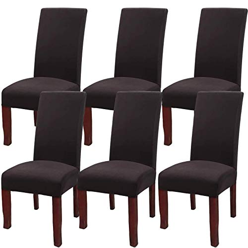 YISUN Stretch Dining Chair Covers Removable Washable Short Dining Chair Protect Cover for Hotel,Dining Room,Ceremony,Banquet Wedding Party (Chocolate, 6 PCS)
