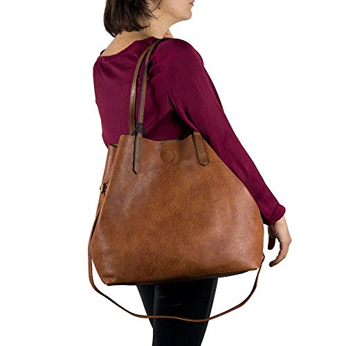 Emila Borsa shopping donna a spalla grande capiente tipo bag con borsello borsellino e tracolla tre pezzi 3 shopper da primavera estate 2020 primaverile giornaliera tutti i giorni lavoro ufficio