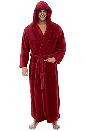 Alexander Del Rossa Men's Robe with Hood - Premium Fleece Bathrobe, Big and Tall, 3X-4X Burgundy (A0125BRG4X)