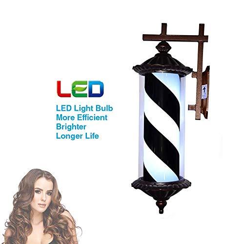 XCJJ Led lumière barbier traditionnel poteau, cadre noir rouge blanc bleu rotatif bandes lumineuses lampe murale Rome Style salon de coiffure barbier coiffure signe, 002-76 cm,002-76cm