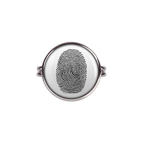 Mylery Ring mit Motiv Finger-Abdruck Finger-Print Linien Silber 16mm