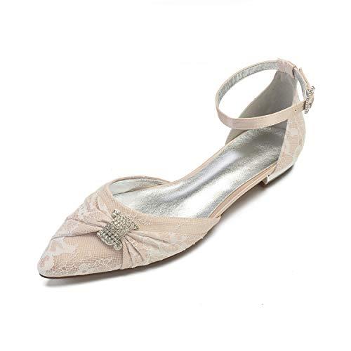 SDJQZ Zapatos Cómodos para Mujer Encaje Flor Mariposa Nudo Primavera Verano Zapatos...