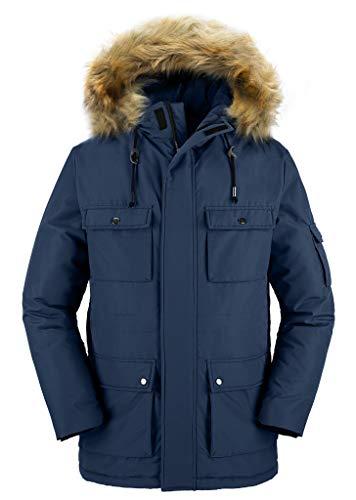 Wantdo Men's Hooded Insulated Parka Windproof Warm Winter Jacket Black XL