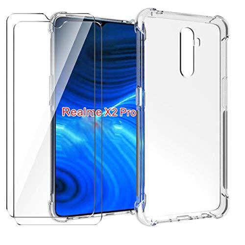HYMY Hülle für Realme X2 Pro Smartphone + 2 x Schutzfolie Panzerglas -Transparent Erdbebenresistenz Schutzhülle TPU Handytasche Tasche Verstärkung an Vier Ecken Hülle für Realme X2 Pro