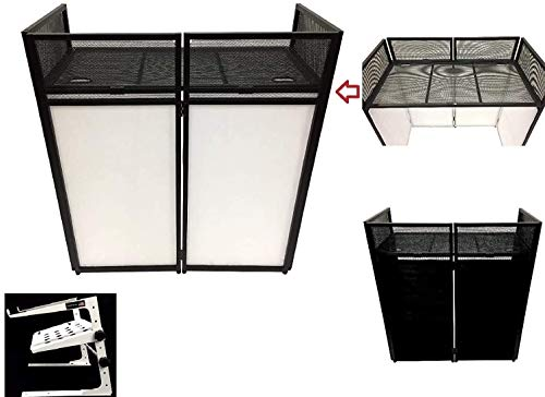 """DJ Event Facade White/Black Scrim Metal Frame Booth + 20"""" x 40"""" Flat Table Top. Combo Deal! Includes White Laptop/Controller Stand!"""