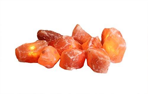 Himalaya Sel Dreams Lumineux avec Cristaux Ampoules Cristal, Lot de 10, avec Guirlande Lumineuse, Cristal de sel, Orange, 20 x 20 x 9 cm, de 2 unités