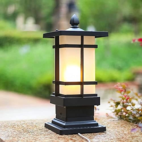 XKUN Moderna a Prueba de Lluvia Ip44 Lámpara de Columna Negra Impermeable para Exteriores Aluminio Fundido a Presión a Prueba de Herrumbre Pared de Jardín Patio Pilar Luminaria Linterna de Vidrio Cua