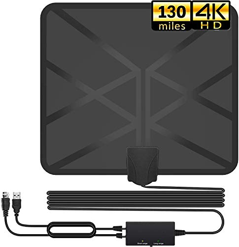TV Antenna, 2020 Newest Indoor Digital HDTV Amplified Antennas Freeview 4K HD VHF UHF for Local Channels 130+ Miles Range with Switch Amplifier Signal Booster Support All TV's-16.5ft Coax Cable
