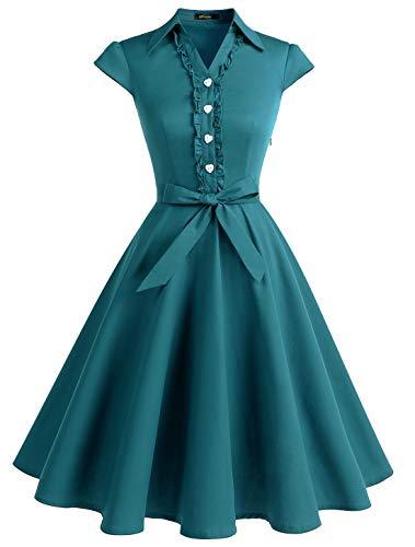 WedTrend Abito da donna vintage anni '50, stile rockabilly, a quadretti, maniche corte Verde pavone XS