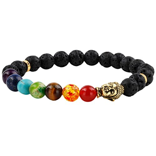 SUNYIK Matte Black Lave Rock Stone 7 Chakra Bracelet,with Buddha Head,Healing Balancing Reiki 7' Strand