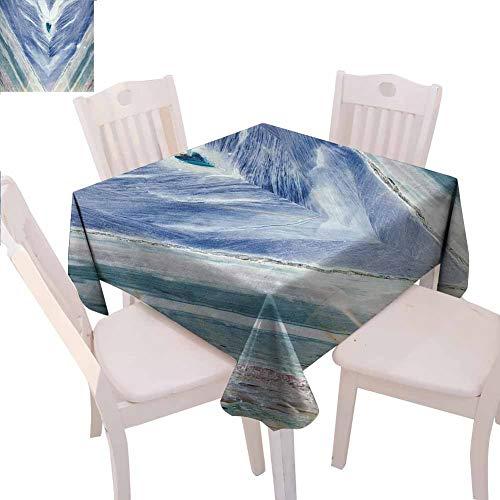 Mantel cuadrado de mármol impreso de piedra de ónix estilo tribal con elementos de color ágata patrón auténtico evita arañazos en la mesa, 137 x 137 cm, color azul oscuro, gris claro