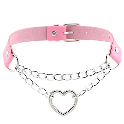 Timesuper PU Leather Choker Necklace Punk Heart Pendant Chain Choker Collar Necklace Chain for Women Men,Pink