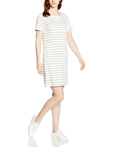 VILA CLOTHES Damen VITINNY New S/S Dress-NOOS Kleid, Mehrfarbig (Snow White Stripes: Total Eclipse Version 1), 36 (Herstellergröße: S)