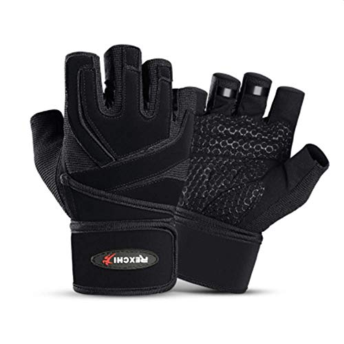 Gym Trainingshandschuhe Fitness Handschuhe Krafttraining Fitneßhandschuhe für Herren Damen Frauen Gewichtheben Handschuh mit Handgelenkstütze,Sporthandschuhe Rutschfeste Atmungsaktiv Hanteln (Schwarz)