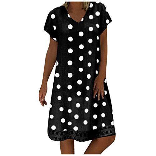 URIBAKY Mode Damen T Shirt Kleider Knielang Übergröße,Farbblock mit Tupfenmuster Bedrucktes Kleider,mit V-Ausschnitt Elegant Casual Sommerkleider Abendkleid Große Größen