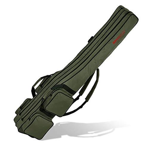 Angel Tasche Futteral Rutentasche Fishing Rucksack - Oliv 2 Innenfächer - 170 cm