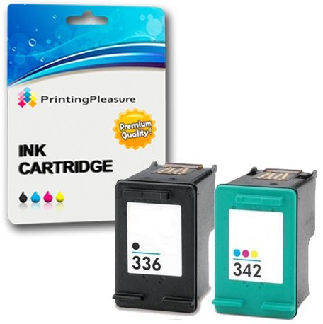 Printing Pleasure 2 Tintenpatronen kompatibel zu HP 336 342 für DeskJet 5420 5432 5440 5442 Officejet 6310 6315 Photosmart 2570 2575 2710 C3100 C3180 C4180 D5160 - Schwarz/Color, hohe Kapazität