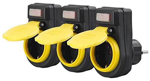 revolt Schukosteckdose: 3er-Set Outdoor-Steckdosenadapter mit Ein/Aus-Schalter, bis 3.680 Watt (Schaltbare Outdoor-Steckdose)