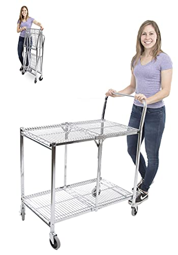 Stand Steady Original Tubstr | Collapsible Wire Cart | 2 Shelf Wire Utility Cart Provides Convenient Transport | Holds 200 Pounds and Folds Up for Storage | Commercial Grade