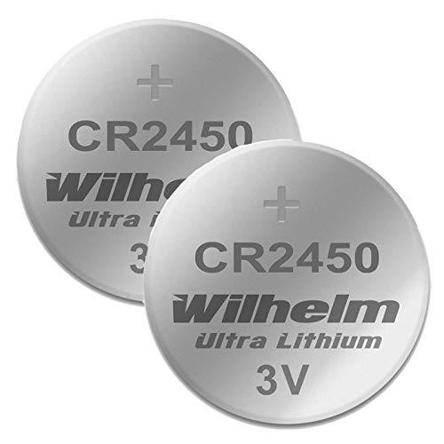 2 x CR2450 WILHELM Lithium Knopfzelle 3V 600mAh ø24,5x5,0mm Batterie DL 2450