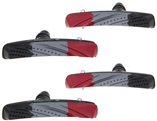 P4B Cartridge Bremsschuhe für V-Brake, Belag 3-farbig im Air-Flow-Design, 2 Paar = 4 Stück, Gehäuse-Farbe = schwarz matt - 3
