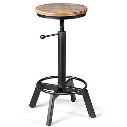 COSTWAY Barhocker höhenverstellbar, Barstuhl aus Holz und Metall, Tresenhocker mit Fußstütze, Bistrohocker, Industrie-Sitzhocker Küchenhocker, ideal für Restaurants, Cafés