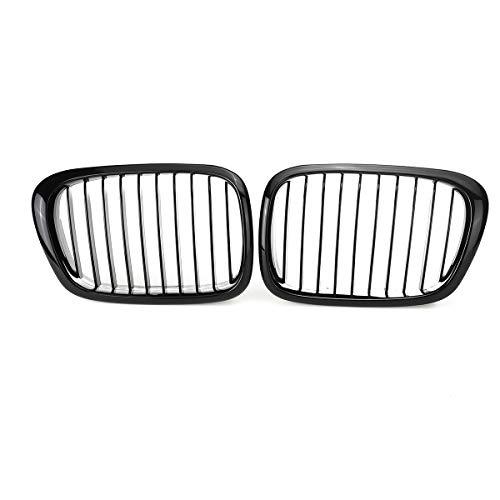 EBDH Rejilla del riñón Delantero, 1 par de automóviles para BMW E39 5-Series 525i 528i 530i 540i M5 1997 1998 1999 2000 2002 2002 2003 Gloss Black Grille
