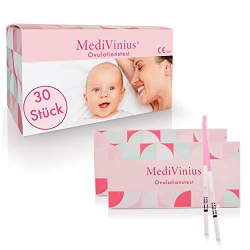 MediVinius Ovulationstest 30 Stück mit schnellem Ergebnis unter 10 Minuten I Zuverlässiger Fruchtbarkeitstest für Frauen I Fertility LH Test