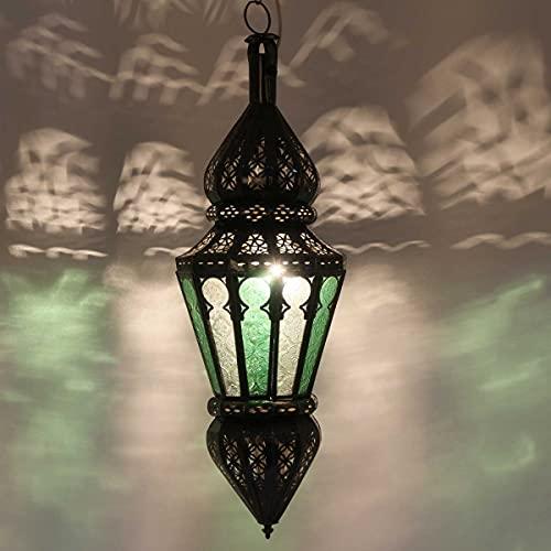 Casa Moro Lámpara de techo marroquí Nura de color verde y blanco, altura de 54 cm, de hierro y cristal, artesanía de Marruecos, magnífica lámpara colgante de 1001 noche, L1219
