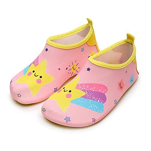 happygirr Zapatos de playa para niños al aire libre, zapatos de agua para niños, zapatos de dibujos animados, antideslizantes, antiestrías, impermeables, de secado rápido