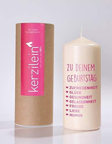kerzilein Flamme, pink, ZU DEINEM Geburtstag, Stumpenkerze groß 18,5 x 7,8 cm, mit Spruch, handveredelt in Deutschland