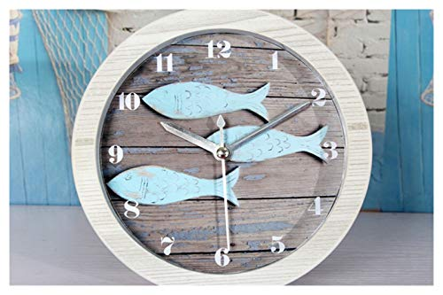yywl Reloj Despertador Vintage mediterráneo Europeo Retro pequeño Pescado de Madera Reloj Despertador Reloj de Asiento nórdico Reloj Sala de Estar Oficina Reloj de Escritorio