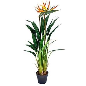 Silk Flower Arrangements Werandah Artificial Silk Bird of Paradise Palm Tree Potted Plant, Lush, 3.6' Ft Fake Tropical Palm Tree Faux Strelitzia for Home Office Decor Green