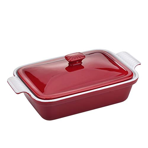 vancasso,Series BLOSSOM,Stoneware Casserole with Lid,3.4 Quart (13.5' x 9'x3.15'') Baking Dish Oven Safe,Casserole Pans Bakeware Set With Lid for Lasagne,Pie,Casserole and Tapas,Red