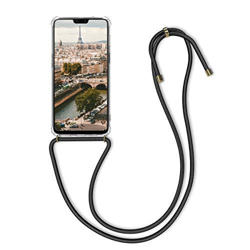 kwmobile Schutzhülle kompatibel mit OnePlus 6 - Hülle mit Kordel zum Umhängen - Silikon Handy Case Transparent Schwarz