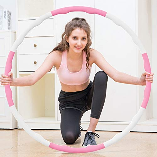 HUILING Fitness Hula Hoop, Massage Abnehmen Hula-Hoop Yoga Hula-Hoop Es Kann Sich Bewegen Blasenkreis Gelten Erwachsener Und Kind Innen-Fitness Übung Hula-Hoop (Color : Pink+White, Size : 6 Sections)
