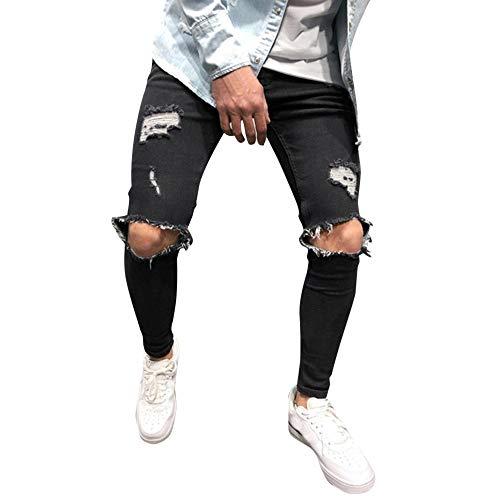 KEERADS Mode Homme Pantalon Serré Denim Trou Biker Déchiré Trou Jeans Skinny Cargo Straight Slim pour Printemps Automne Pantalon Denim Stretch Maigre(FR-38/CN-S,Noir)