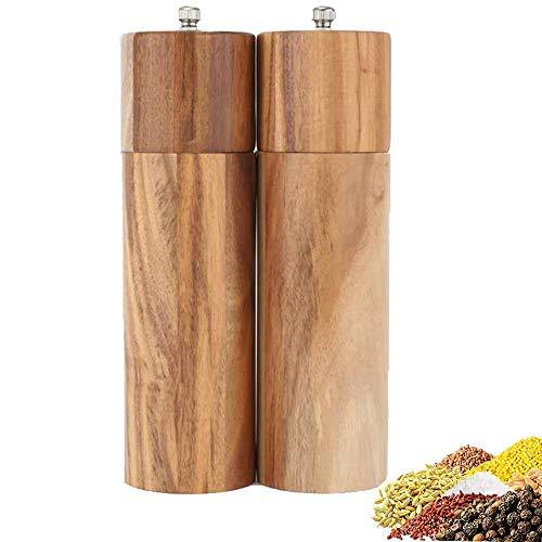 Okay Pfeffermühle Holz, Salzmühle Holz, Manuelle Salzmühle mit Einstellbarer Keramikmahlwerk Gewürzmühle (2 Set)