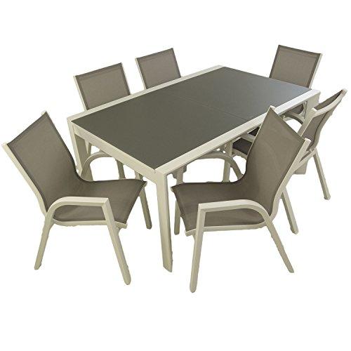 Edenjardi Conjunto Muebles Exterior, Mesa Extensible 160/210, Sillones apilable, 6 plazas, Aluminio Blanco, Textilene taupé