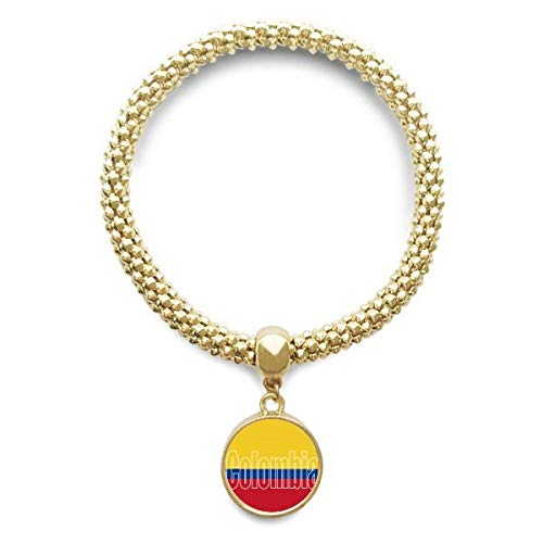 DIYthinker Cadena de joyería Colombia Bandera de País Nombre de Oro Pendiente Redondo de Pulsera