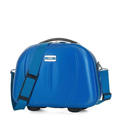 JASLEN - Neceser Grande de Viaje Rígido ABS, Maleta de Aseo. Cinta Elástica para Trolley. Separador Interior con Espejo. Mujer y Hombre 56525, Color Azul