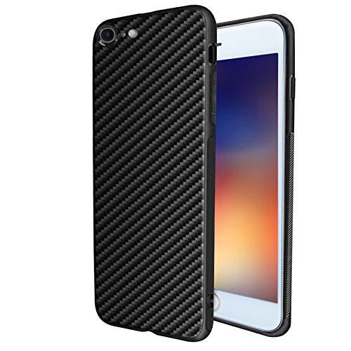 MADIBA Hülle kompatibel mit iPhone 8 / iPhone 7 Carbon Design (Ultra Dünn) [FederLeicht] Handyhülle Bumper Cover Schutz Silikon Black Schwarz
